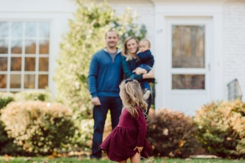 Meghan and Chris recently bought a house in Summit NJ moving from Hoboken. Their new suburban life began by getting their family photos done in front of their new home. But as you know family session with young family doesn't always go the way you plan. Not long after we arrived at photo location both kids decided that they were done. Fall family session with Meghan & Chris Watchung NJ photographed by Karis from Hey Karis. Photograph is like freezing time, motion in print, movie turned into a book. Now booking 2021 and 2022 weddings.