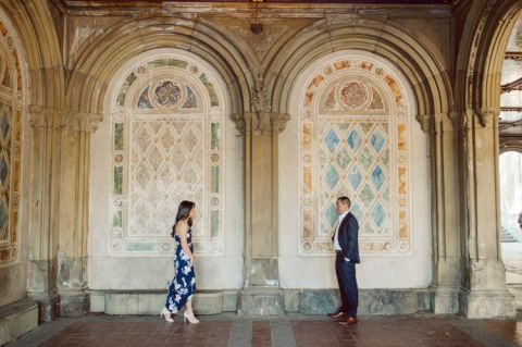Bethesda Terrace Arcade in Central Park NY in my opinion alway so lovely. I saw Brianna and Joe standing in the middle of Bethesda Terrace next to the fountain. We walked right into the crowd of Central Park and started our engagement session. Cherry Blossoms were still in bloom along with all the spring blooms. Spring sun was brilliant and smiles on Brianna and Joe during the engagement session was so beautiful. Brianna and Joe's Bethesda Terrace Arcade in Central Park NY engagement session captured by NY NJ Weddings, Elopements and Family Photographer Karis.